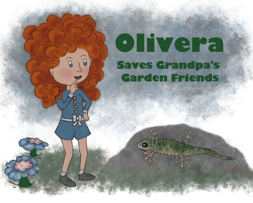 Watercolour effect for autumnal colours. Olivera has big bushy red hair and is talking to a lizard on a rock.