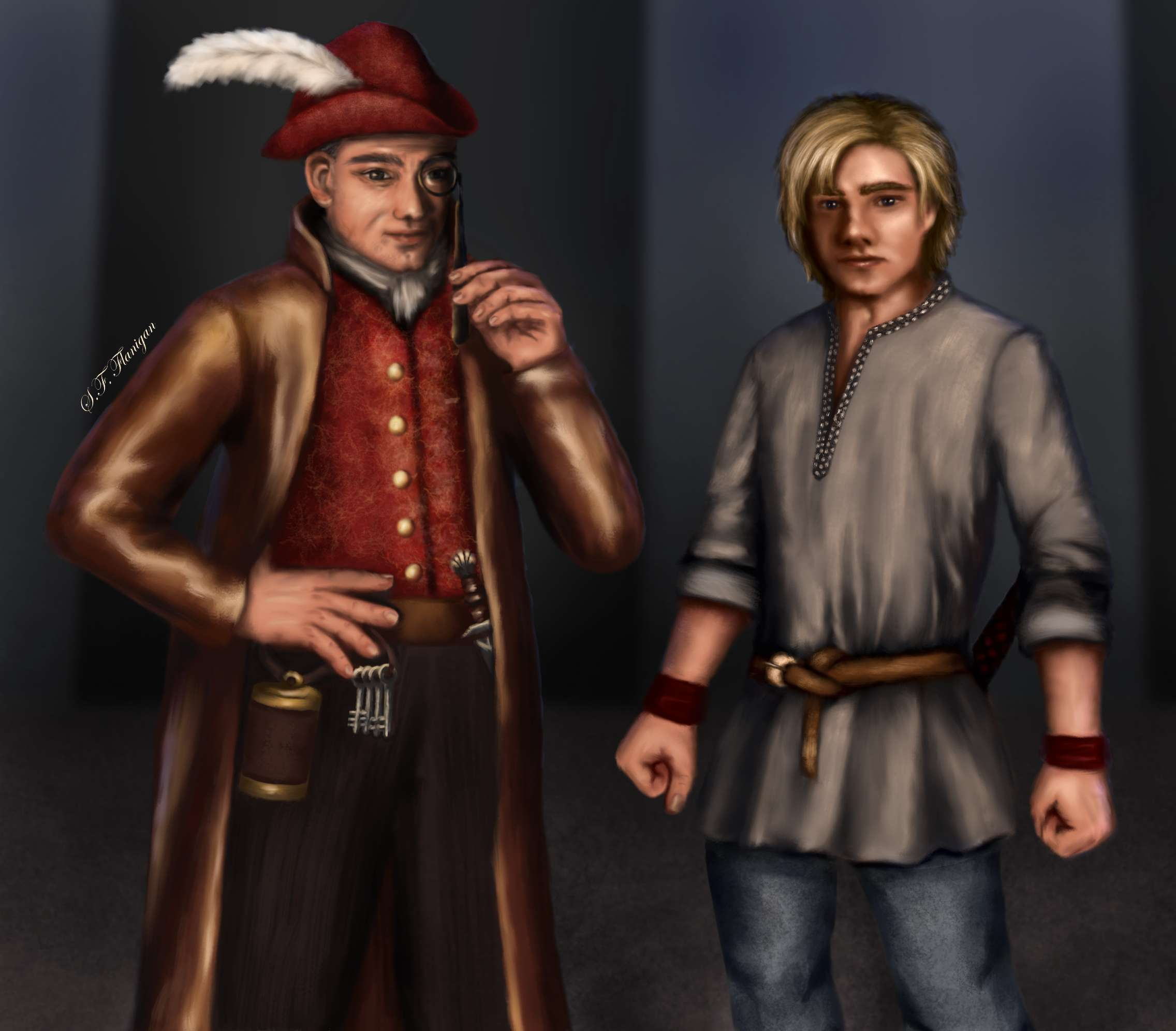 Private investigator Scond has a magnifying glass and a red vest and cap, a utility belt, and brown jacket. Flotsan wears a plain grey belted tunic. They stand inside a black and grey/blue circus tent.