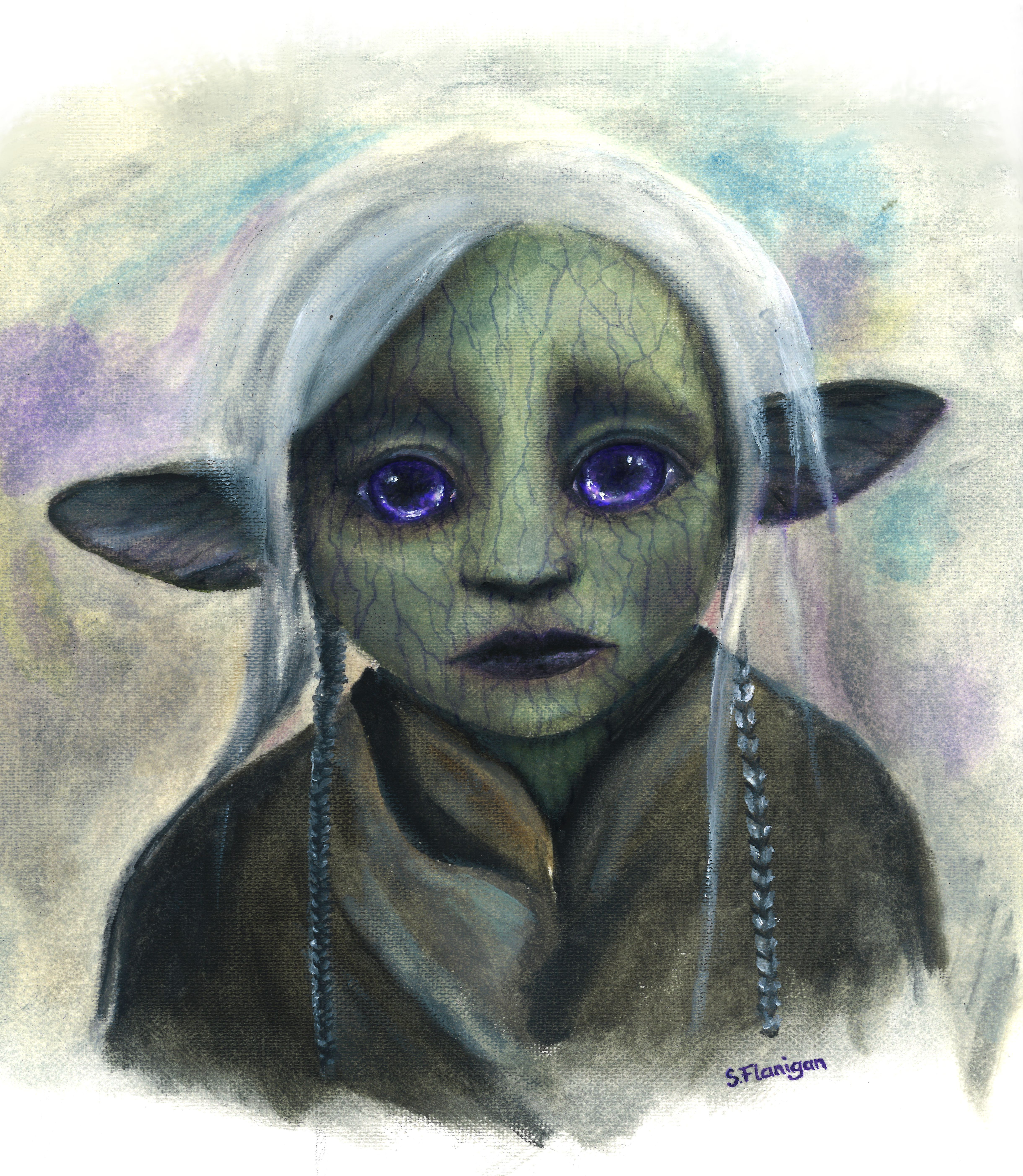 Painting of a gelfling doll (round green face, bright purple eyes, silver hair), in calm despair