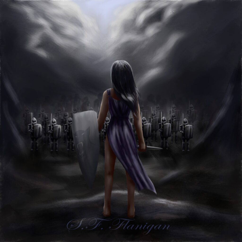A slave girl stands before a shining army, sword and panther-decorated shield in hand. Dark clouds roil overhead.